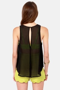 Embroidery Hoopla Black Sleeveless Top at Lulus.com!