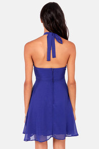 Prima Ballerina Flared Royal Blue Halter Dress at Lulus.com!