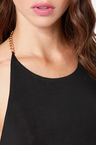 Ch-ch-ch-Chain-ges Black Halter Top at Lulus.com!