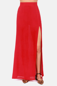 LULUS Exclusive Take It To The Max Red Maxi Skirt at Lulus.com!