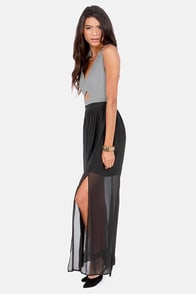 The Max of Life Cutout Grey and Black Maxi Dress at Lulus.com!