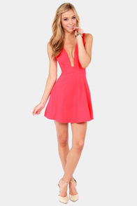 Take The Plunge Coral Pink Dress at Lulus.com!