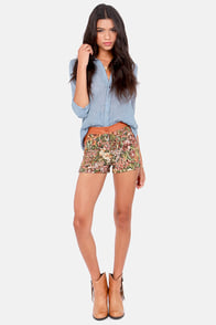 On Tapestry Brown Vegan Leather Shorts at Lulus.com!