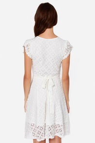 LULUS Exclusive Sweet Wrap-sody Ivory Lace Dress at Lulus.com!