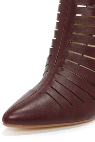 Anne Michelle Momentum 99 Oxblood Pointed Toe Booties at Lulus.com!
