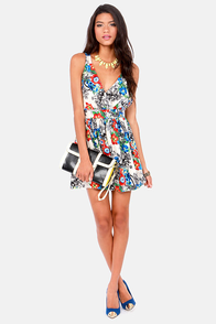 Band of Florals Ivory Floral Print Dress at Lulus.com!