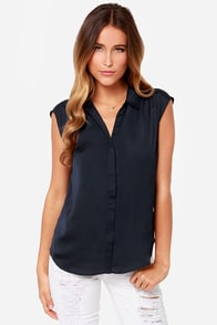 Prep It Up Navy Blue Top at Lulus.com!