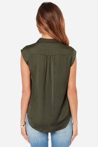 Prep It Up Olive Green Top at Lulus.com!
