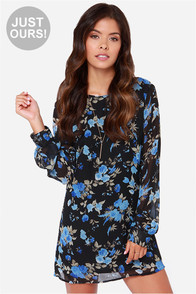 LULUS Exclusive Rose-etta Stone Black Floral Print Dress at Lulus.com!