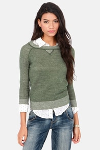 BB Dakota Lilyana Army Green Sweater at Lulus.com!