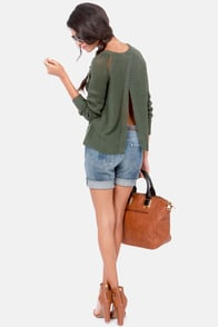 BB Dakota Ian Army Green Sweater at Lulus.com!
