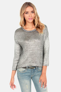 BB Dakota Chey Metallic Silver Sweater at Lulus.com!
