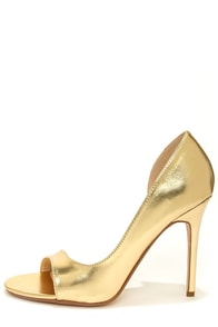 Anne Michelle Rapture 89 Gold D'Orsay Heels at Lulus.com!