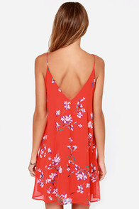 LULUS Exclusive American Floral Story Red Orange Print Dress at Lulus.com!