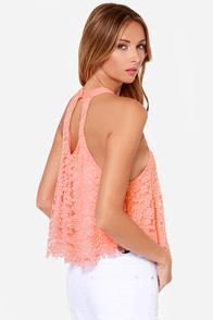 LULUS Exclusive Goodness Graces Coral Lace Halter Top at Lulus.com!