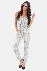 Together In Harmony Black and Ivory Print Jumpsuit at Lulus.com!