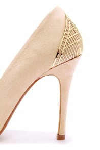 Mixx Shuz Eliza Nude Microfiber Gold Cage Pointed Pumps at Lulus.com!