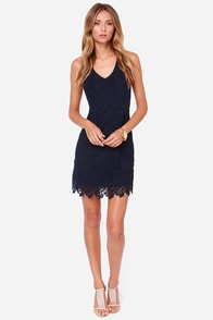 Black Swan Davis Navy Blue Lace Dress at Lulus.com!