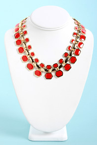 Collar Me Crazy Coral Red Necklace at Lulus.com!