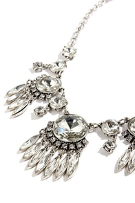 Glitz a Date Silver Rhinestone Statement Necklace at Lulus.com!