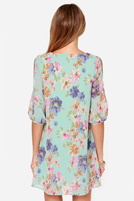 Let's Van Gogh Out Mint Floral Print Dress at Lulus.com!