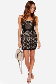 High Speed Lace Black Lace Bustier Dress at Lulus.com!