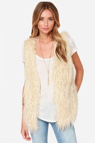 It's a Wild World Cream Faux Fur Vest