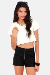 Ready To Ride Ivory Vegan Leather Crop Top at Lulus.com!