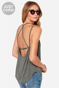 LULUS Exclusive What's Strap-pening? Grey Tank Top at Lulus.com!