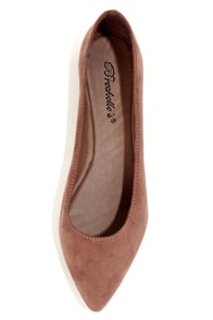Talia 01 Taupe Pointed Flats at Lulus.com!