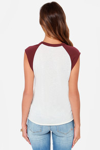 Obey Scholastic Script Cream and Burgundy Tee at Lulus.com!