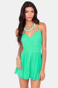 Sealed With a Kiss Backless Mint Green Romper at Lulus.com!