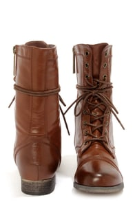 Georgia 72 Cognac Lace-Up Combat Boots at Lulus.com!