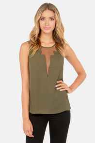 Cuts and Bolts Olive Green Top at Lulus.com!
