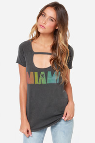 Chaser Miami Distressed Grey Tee at Lulus.com!
