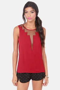Cuts and Bolts Wine Red Top at Lulus.com!