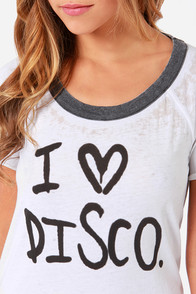 Chaser I Love Disco Distressed Ivory Tee at Lulus.com!