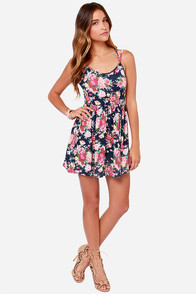 LULUS Exclusive Florist Fire Navy Blue Floral Print Dress at Lulus.com!