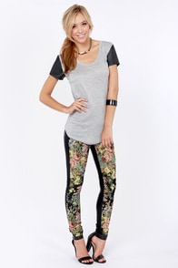Blank NYC Spray On Black Vegan Leather and Tapestry Skinny Pants
