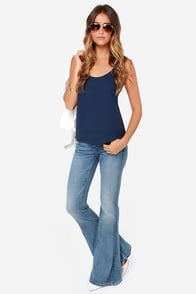 Lucy Love Go To Navy Blue Tank Top at Lulus.com!