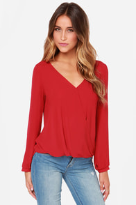 Office Hours Red Long Sleeve Top