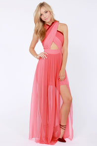 Pleat-er Patter Coral Color Block Maxi Dress