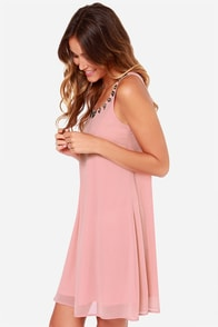 LULUS Exclusive Bead Me Up Beaded Blush Dress at Lulus.com!