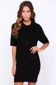 West Village Black Sweater Dress at Lulus.com!