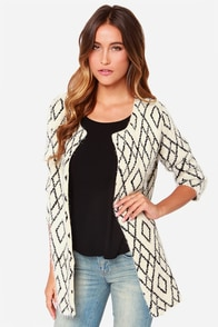 Crossroads Black and Cream Sweater at Lulus.com!