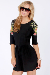 In Stitches Embroidered Black Romper at Lulus.com!