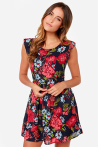 Print-cess Bride Navy Blue Floral Print Dress at Lulus.com!