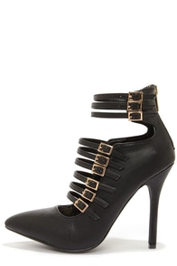 Anne Michelle Spiral 31 Black Pointed Toe Booties at Lulus.com!