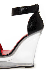 Shoe Republic LA Dawn Black and Clear Platform Wedges at Lulus.com!