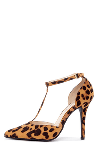 Anne Michelle Momentum 40 Leopard T-Strap Pointed Pumps at Lulus.com!